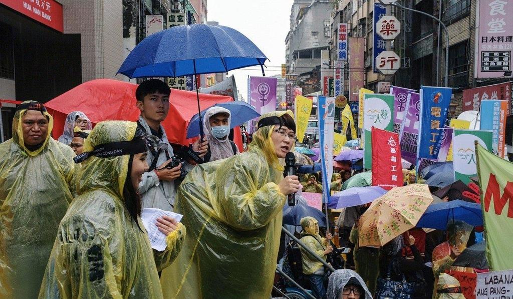 Những người lao động nước ngoài ở Đài Loan trong cuộc biểu tình tháng 12 năm 2018. Ảnh: SCMP.